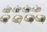 NGR1132 12mm square mixed gemstone gemstone rings wholesale