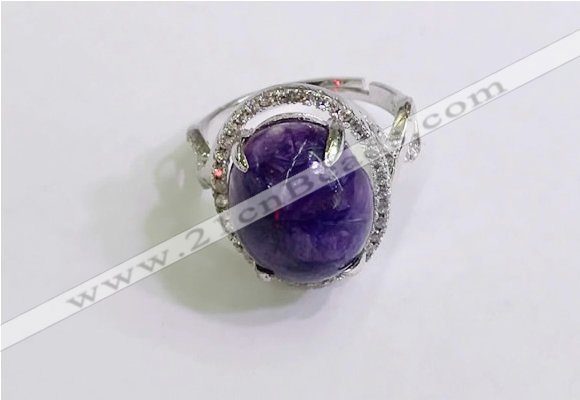 NGR3037 925 sterling silver with 12*14mm oval charoite rings